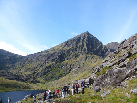 Hikers getting ready to hike the Devil's Ladder on Carrauntoohil