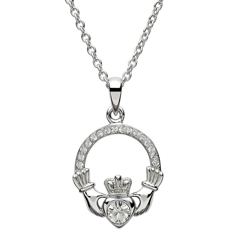 Claddagh Birthstone Pendant - April: