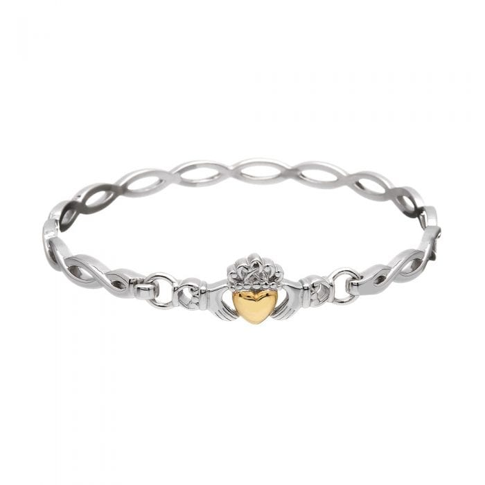 Claddagh Bangle with Gold Heart:Bangle