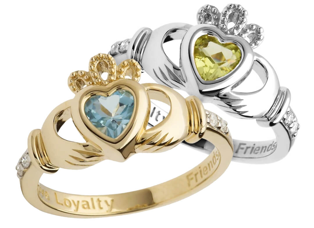 Yellow & White Gold Claddagh Birthstone Rings