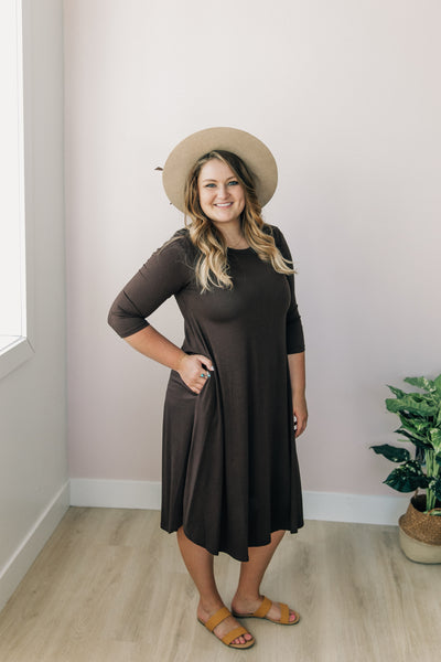 Brown Three Quarter Sleeve Dress