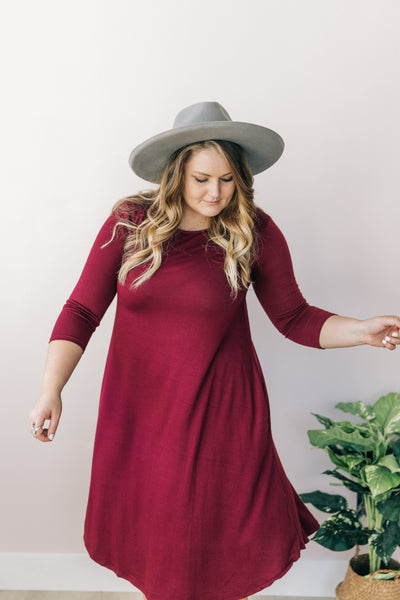 Maroon Three Quarter Sleeve Dress