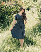 Grey Cinched Waist Dress