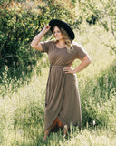 Tan Midi Tie Dress