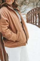 Quilted Rust Bomber Jacket