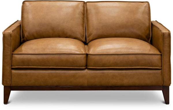 Camel Leather Loveseat