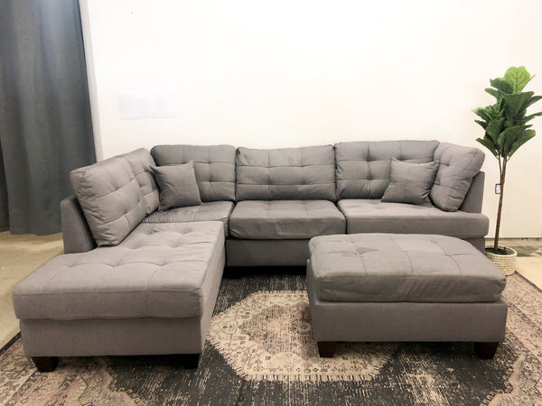 Bloomington grey Sectional w/chaise + Ottoman