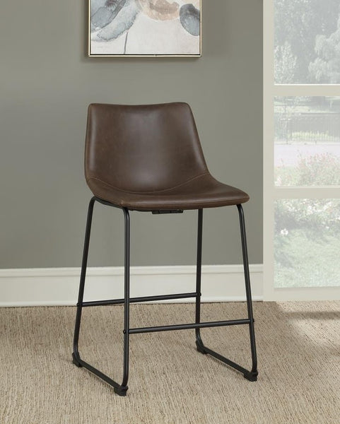 Brown Leather Counter Height Stool