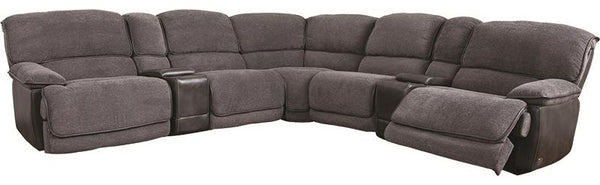 2 Tone Grey Leather Sectional