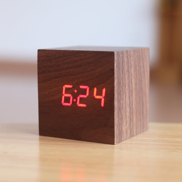 Cube wooden LED Alarm Clock - PKsmartshopping