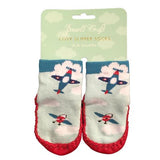 Baby Boy Shower Plane Slipper Socks