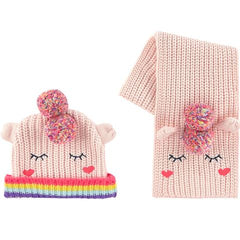 Billieblush Baby Toddler Girls Unicorn Hat and Scarf Set