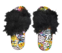 Iscream emoji faux fur slide shoes
