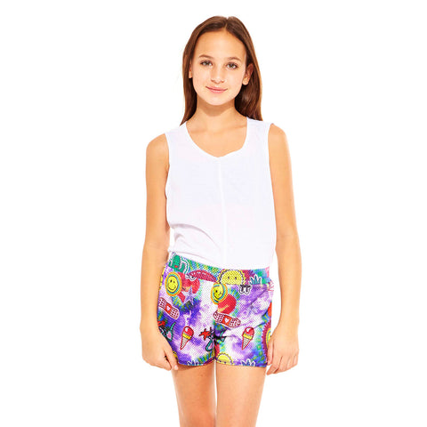Terez Make Up Mess Printed Shorts