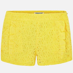 Mayoral Girls Yellow Eyelet Dress Shorts