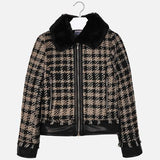 Mayoral Girls Houndstooth Faux Fur Jacket