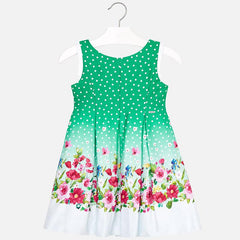 Mayoral Girls Green Sateen Floral Dress