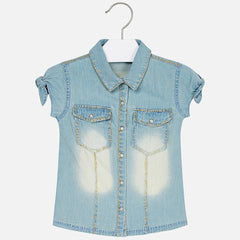 Mayoral Girls Light Denim SS Shirt