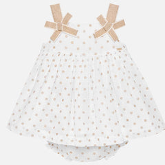 Mayoral White Dot Summer Dress and Bloomers