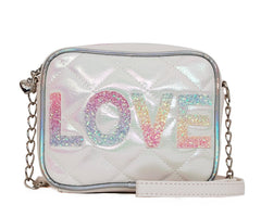 OMG Accessories LOVE Quilted Chain Purse White Bag