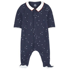 Petit Bateau Sailor Collar Cotton Footie