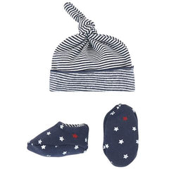 Petit Bateau Navy Bootie and Hat Gift Set
