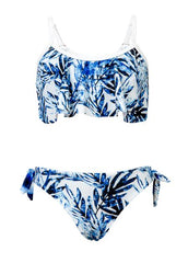 Snapperrock Girls Sport Bikini Blue Palm