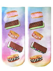 Ice Cream Sandwich Printed Socks by Living Royal