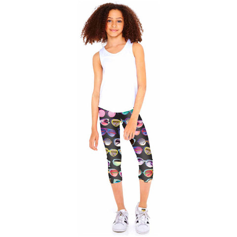 Terez Sunglasses Print Capri Leggings Black