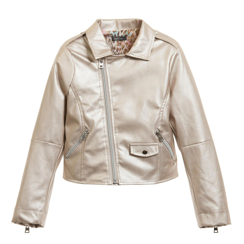 Miss Grant Metallic Gold Biker Jacket