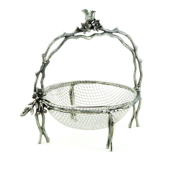 Birds & Branches Handled Wire Basket