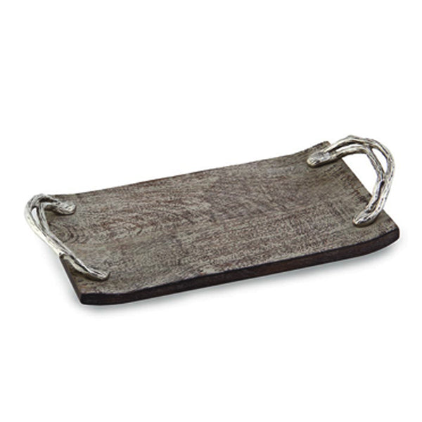 Weathered Wood Handled Rectangular Tray