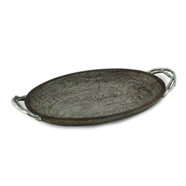 Weathered Wood Handled Oval Platter