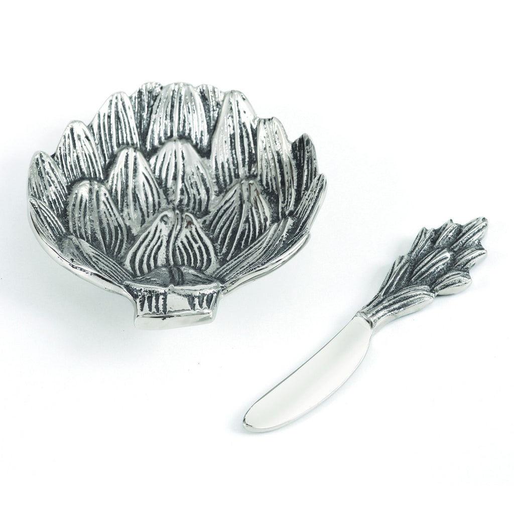 Table Accents Artichoke Dip Dish w/ Spreader