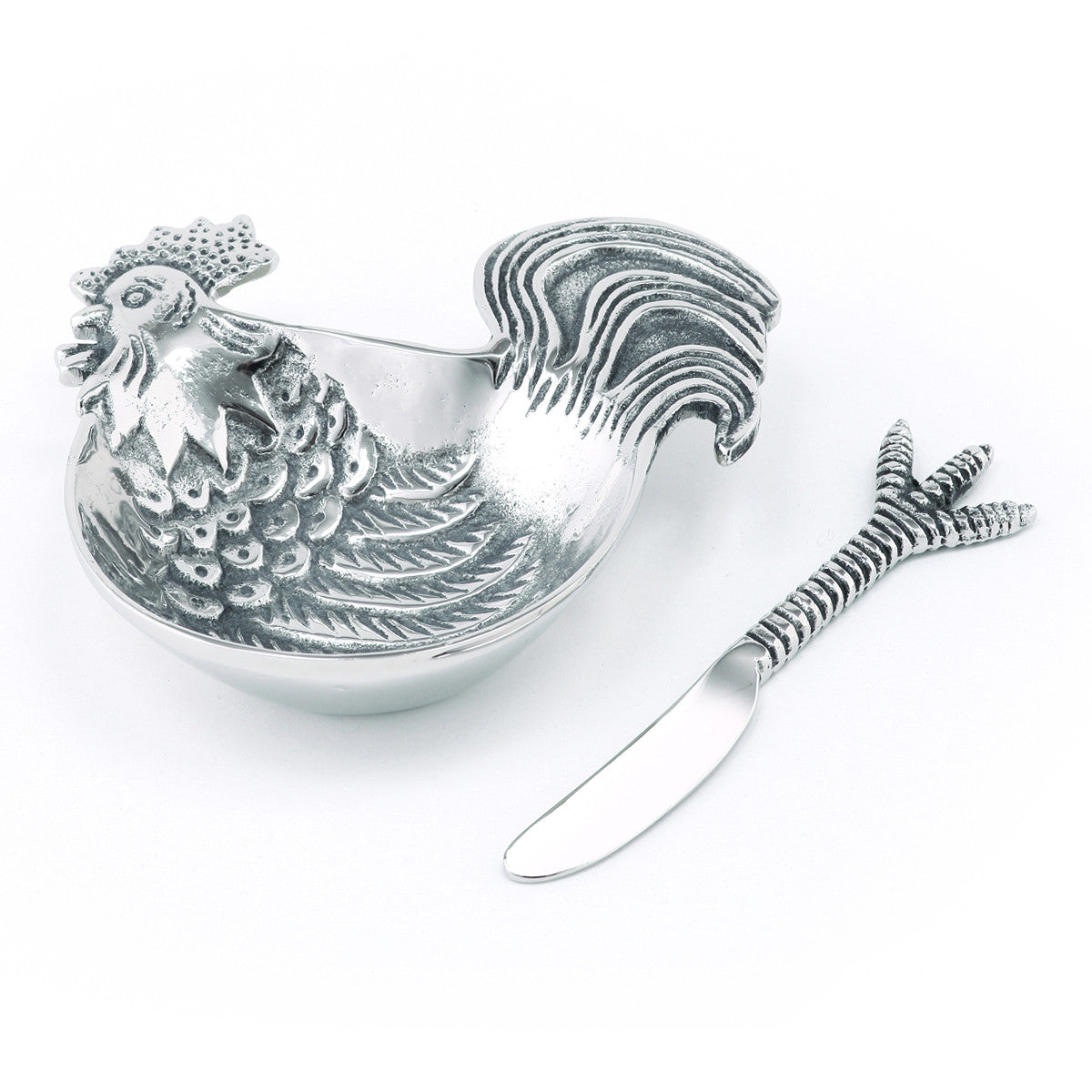 Table Accents Rooster Dip Dish w/ Spreader