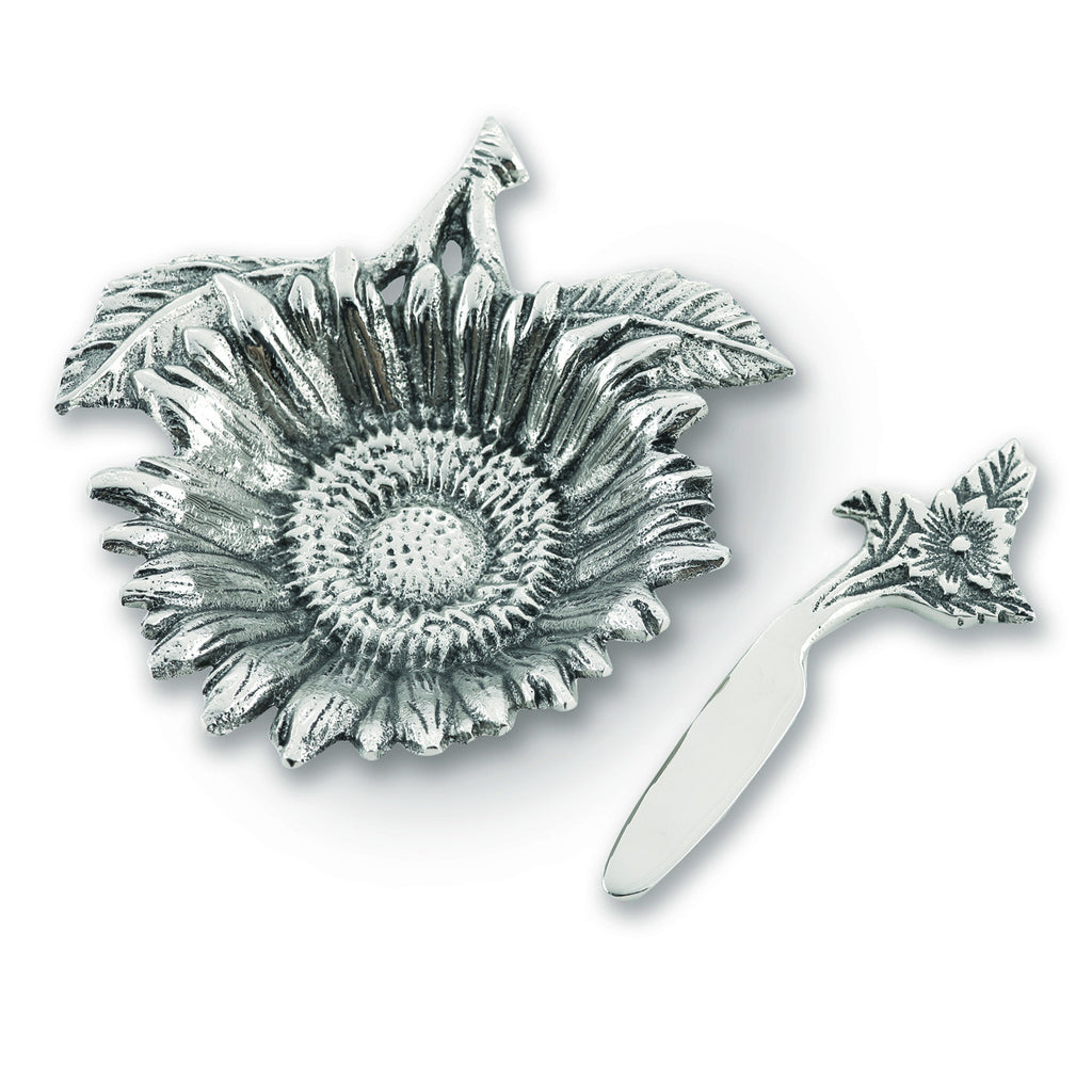 Table Accents Sunflower Dip Dish w/ Spreader