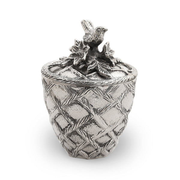 Trellis Bird Covered Jar
