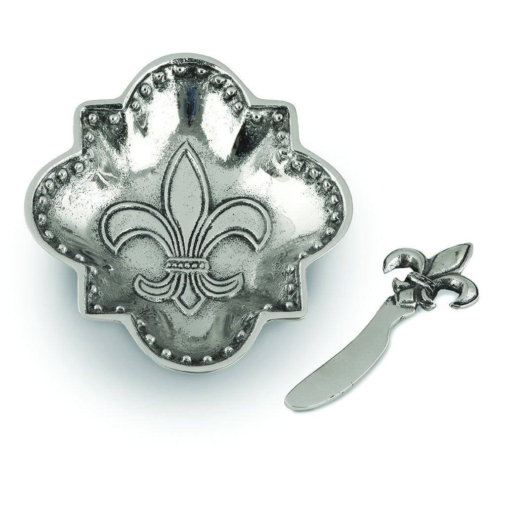 Table Accents Fleur De Lis Dip Dish w/ Spreader