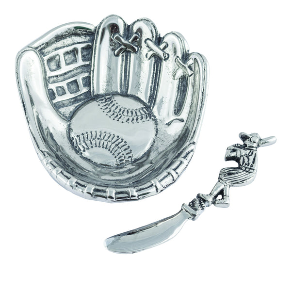 Table Accents Baseball Glove & Bat Dip Dish w/ Spreader