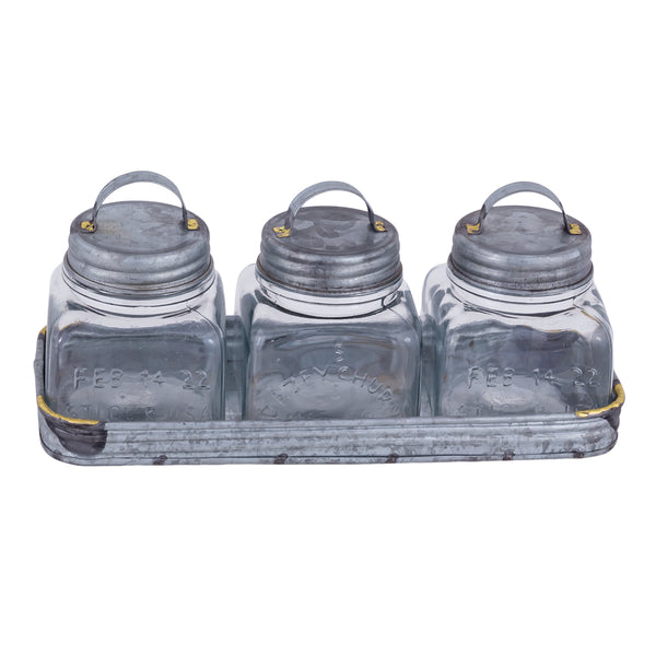 San Miguel Glass Jar Set w/ Tray