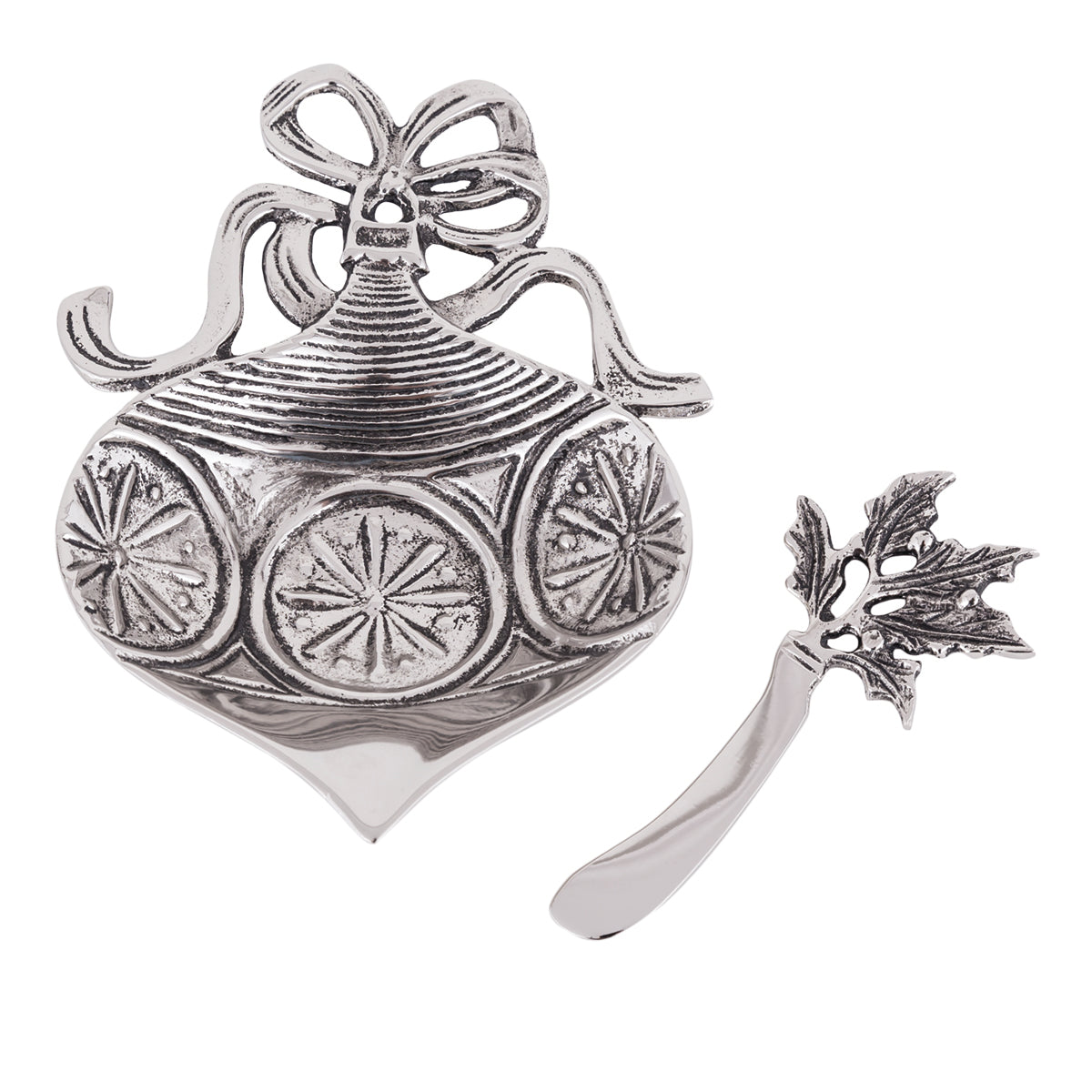 Table Accents Ornament Dip Dish w/ Spreader
