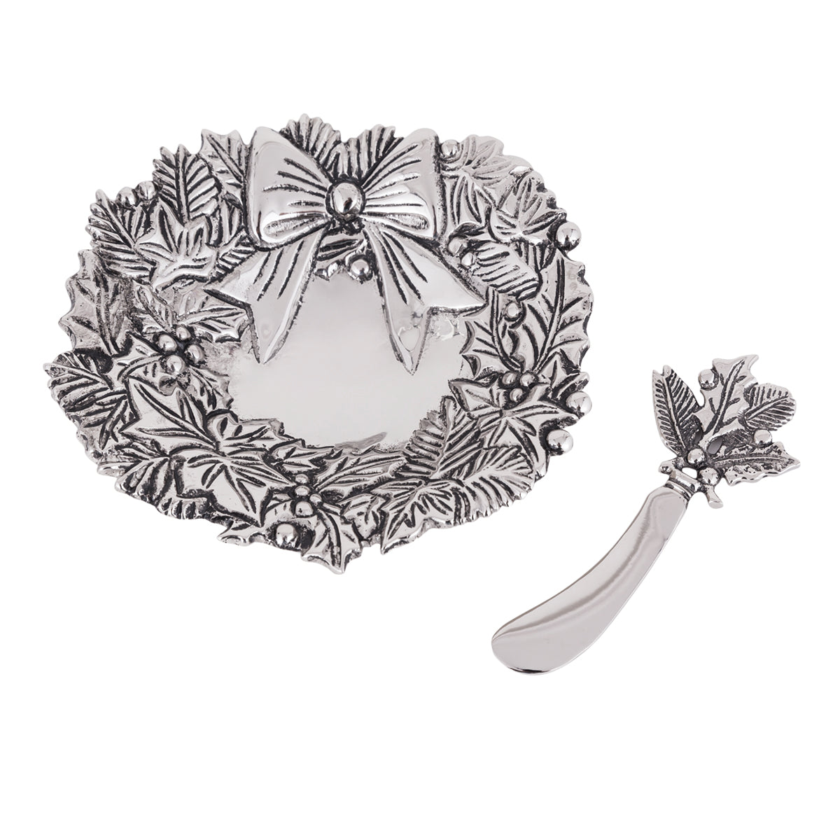 Table Accents Wreath Dip Dish w/ Spreader