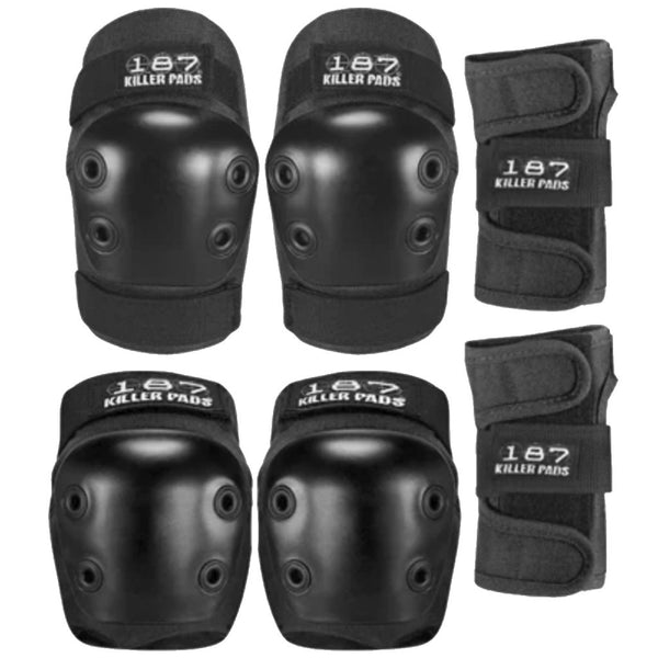 187 Killer Pads SIX PACK Junior PAD SET Black- Protecciones - Furtivo! Skateboarding