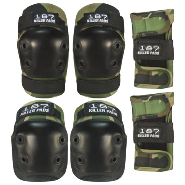 187 Killer Pads SIX PACK Junior PAD SET Camo- Protecciones - Furtivo! Skateboarding