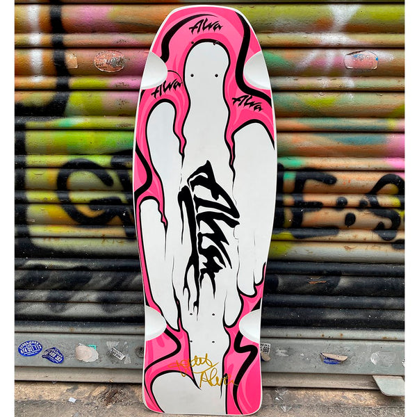 "Alva Scoundrelz Pink Flame 10.0"" Limited Edition Signed Reissue Skateboard Deck Tablas Alva Skates"