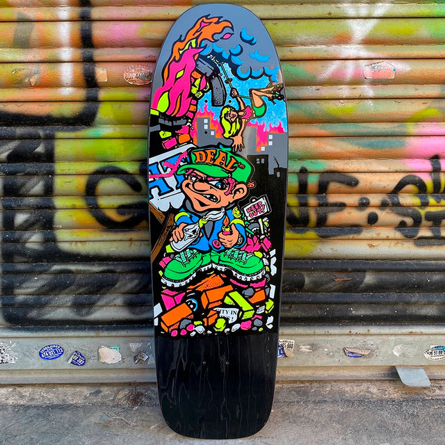 New Deal Howell Molotov Kid Black Stained Screen Printed Reissue Skateboard Deck- Tabla Skate - Furtivo! Skateboarding