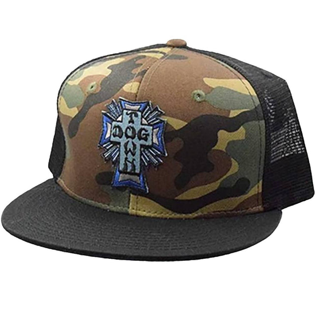 Dogtown Hat Blue Cross Patch Mesh Camo- Gorras Gorras Dogtown Skateboards