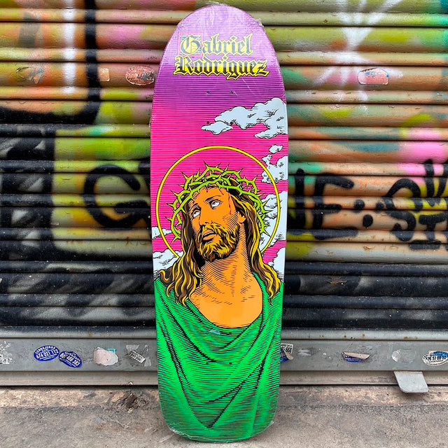 101 Skateboards Gabriel Rodriguez Jesus Screened Neon 9.83 Reissue Skateboard Deck x Cliché-Tabla Skate - Furtivo! Skateboarding
