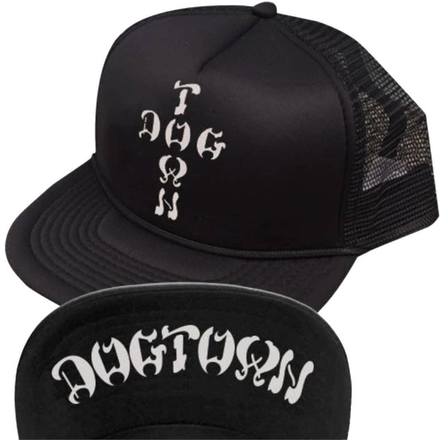 Dogtown Hat Cross Letters Flip Mesh Black- Gorras Gorras Dogtown Skateboards