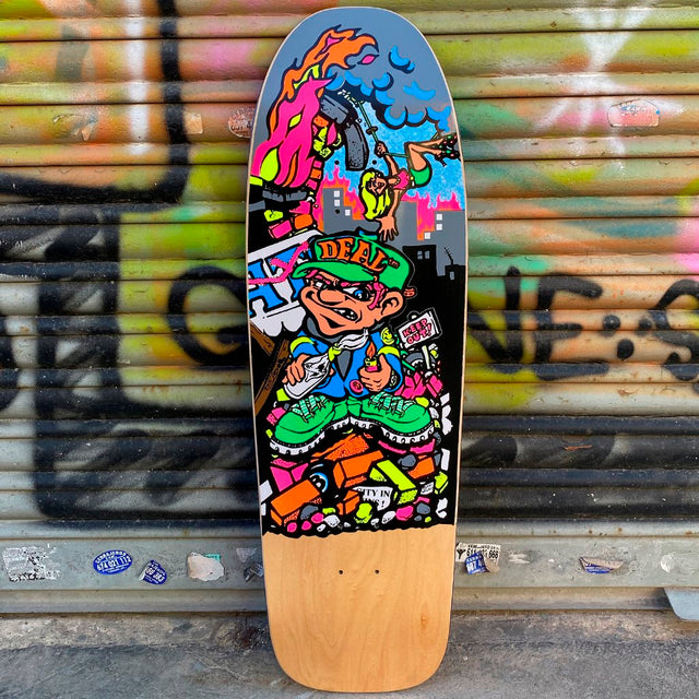 New Deal Howell Molotov Kid Natural Screen Printed Reissue Skateboard Deck- Tabla Skate - Furtivo! Skateboarding